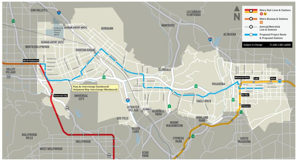 North Hollywood to Pasadena BRT Proposed Project Alignment